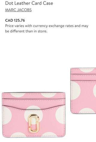 BNWT AUTHENTIC MARC JACOBS PINK DOT LEATHER CARD CASE
