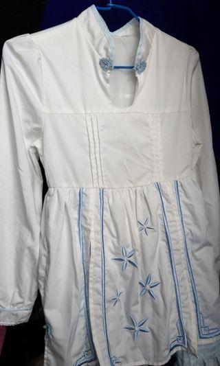🚚 古風/白藍洋裝/s