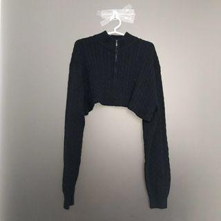 High Neck Knitted Cropped Sweater in Navy