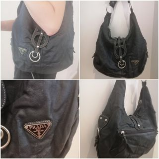 a47401582f1a46 genuine authenic PRADA handbag BLACK silver hardwear