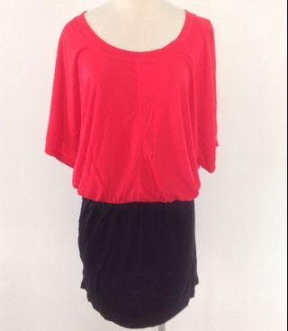 *New* Dorothy Perkins Red & Black Long Top