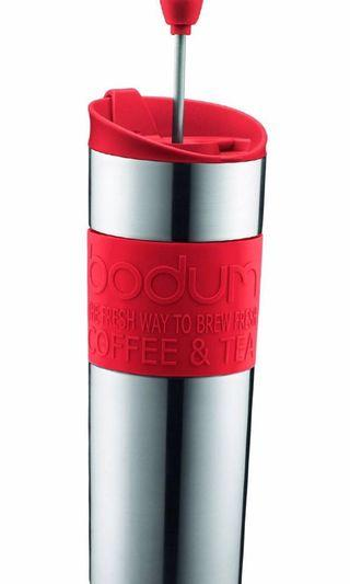 Bodum Insulated Stainless-Steel Travel French Press Coffee and Tea Mug, 0.45-Liter, 15-Ounce, Black Stainless Travel Press 15-Oz. Red