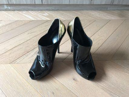 Gucci patent leather two tones ankle high heel shoes 漆皮高踭鞋