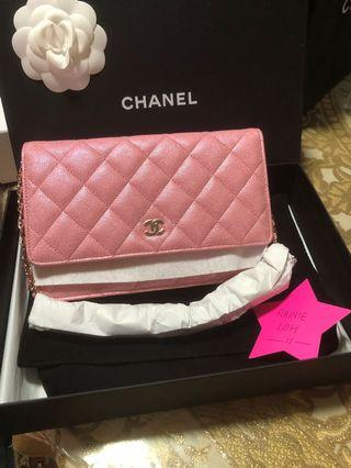 Fresh from store!Chanel 19S Iridescent Pink WOC GHW!