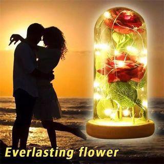 情人節創意禮品透明玻璃罩玫瑰花歐式擺件創意DIY工藝品
