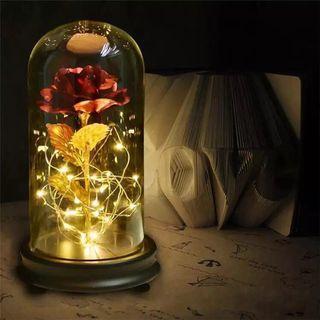 24k鍍金玫瑰花 玻璃罩成品 情人節禮物聖誕節禮品金箔花創意擺件
