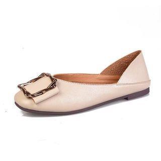 方頭休閒平底單鞋女秋季新款兩穿平跟懶人鞋舒適踩跟女鞋
