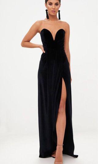 Black Velvet Prom Maxi Dress Size 4,Slim Fit