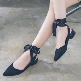 女夏新款綁帶尖頭平底鞋溫柔風仙女低跟芭蕾鞋復古女鞋子