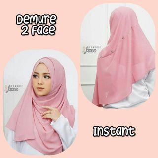 Demure 2 Face Instant Shawl Hijab Tudung Muslimah