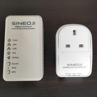 Sineoji PL500EW & PL500EP 500Mbps 2-Port HomePlug AV Wireless Range Extender