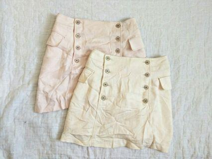 Highwaisted Blush Pink & Cream Colored Buttoned Up Skirt