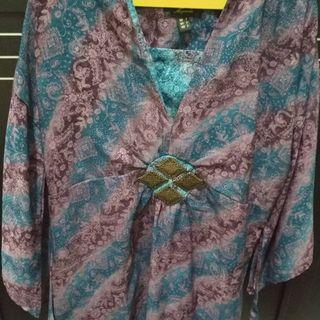 Dress batik mewah model kimono