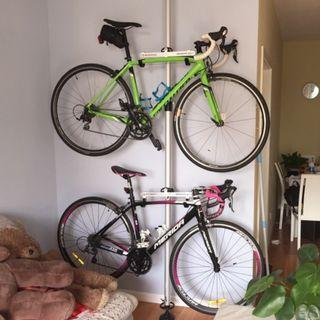 頂天立地鋁合金單車掛架($498包送貨)掛鉤柱牆壁掛架展示架公路車立式停車架平衡車壁掛自行車