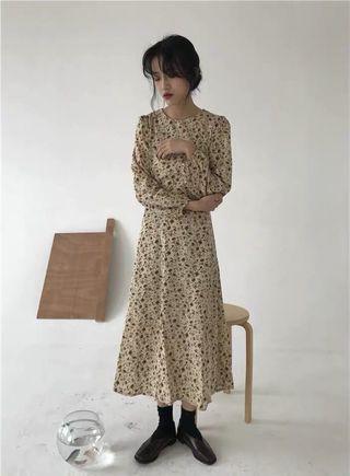 棕調 超溫柔的碎花洋裝!