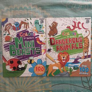 Lot of 2 Colour by Numbers and Sticker Books