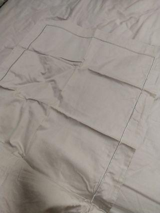 🚚 Used Once Epitex 100% Cotton Queen Size Fitted Bedsheet, 2 Pillow Cases & 1 Bolster