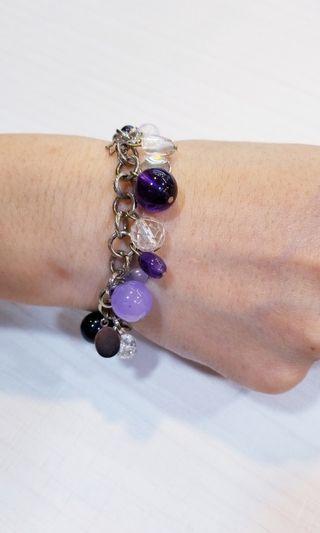 紫水晶 紫金沙 紫玉髓 白水晶    純鋼手鏈