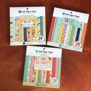 Set of 3 echo park 6x6 Double-sided Paper Pads #EndgameYourExcess