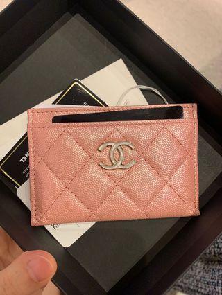 BNIB Chanel 19S Iridescent Pink Card Holder