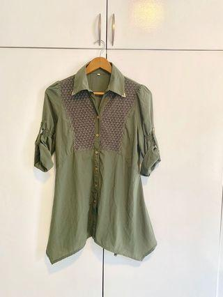 Gucci insp. Army Green Dress/blouse