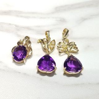 18K gold diamond purple colored stone pendents x 3