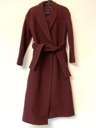 COS Burgundy Wool Coat 酒紅羊毛大衣