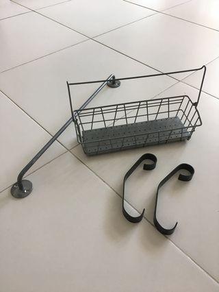 Ikea Wire Basket + Railing & Ikea Hook / Hanger (2s)