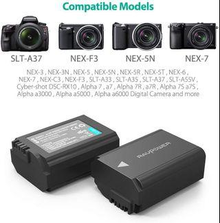 NP-FW50 RAVPower Camera Batteries Charger Set for Sony A6000 Battery, A6500, A6300, A7, A7II, A7RII, A7SII, A7S, A7S2, A7R, A7R2, A55, A5100, RX10 Accessories (2-Pack, Micro USB Port, 1100mAh)