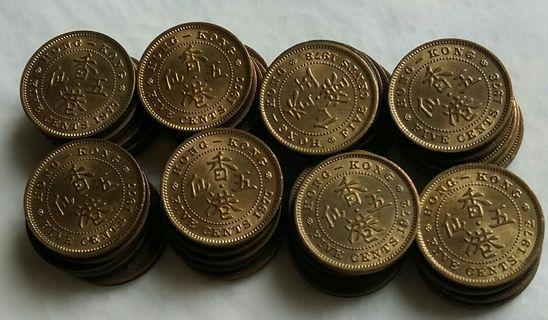 五仙硬幣 女皇頭 共38個 不同年份都有 60年一個 63年一個 65年七個 67年三個 68年一個 71年四個 72年六個 77年十個 78年五個 有意者請電9831 3833或可到九龍灣麗晶花園商場7 11或彩虹地鐵或經順豐快遞《郵費到付方式》交收😀
