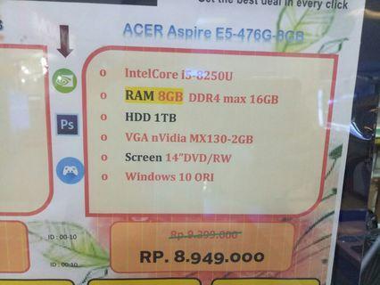 Dijual Laptop ACER E5-476G RAM 8GB Bisa Cicilan Tanpa Kartu Kredit