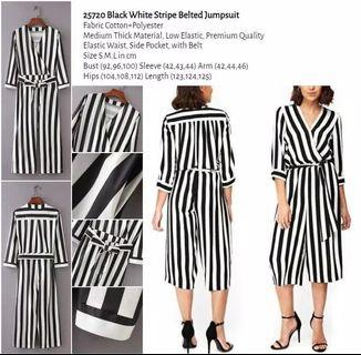 WST 25720 Black White Stripe Belted Jumpsuit
