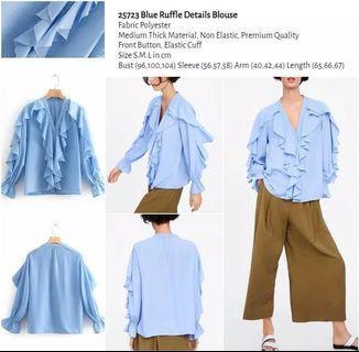 WST 25723 Blue Ruffle Details Blouse