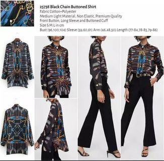 WST 25738 Black Chain Buttoned Shirt