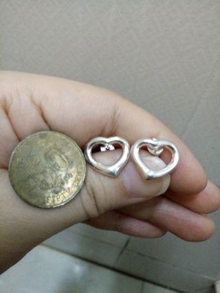 全新心形純銀耳環