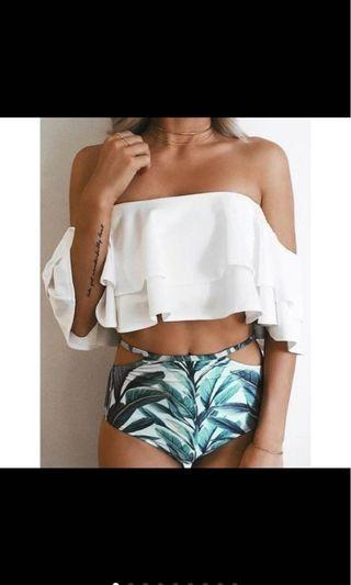 High Waist Off Shoulder Swimsuit