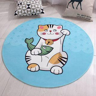 Round Carpet Large Lucky Cat 80cm Antislip