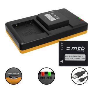 2 Battery + Dual Charger (USB) for DMW-BLE9(E), BLG10(E) / Panasonic DMC-GF3, GF5, GF6, GX7, GX80, LX100, TZ81, TZ91, TZ10