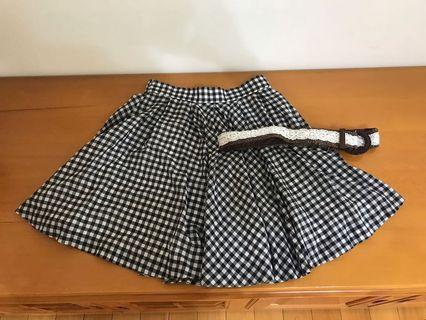 日本百貨專櫃 Apuweiser-Riche 黑白格紋高腰圓裙 短裙