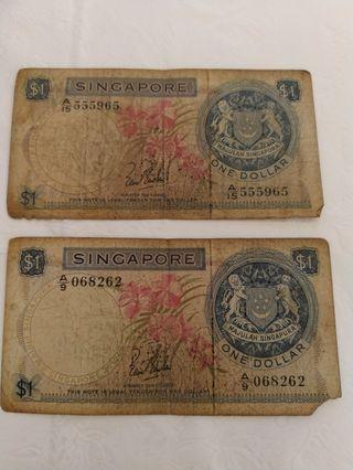 Old singapore notes one dollar