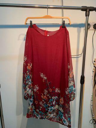 Red Floral Patterned Straight Cut Dress