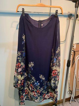 Blue Long Sleeve Floral Patterned Straight Cut Dress