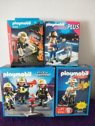 Playmobil 5366, 5701, 4795 & 9093 Fire Recue Crew Sets