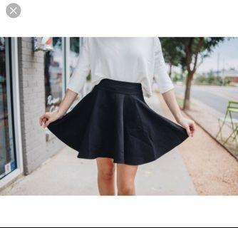 Black Basic Skater Skirt