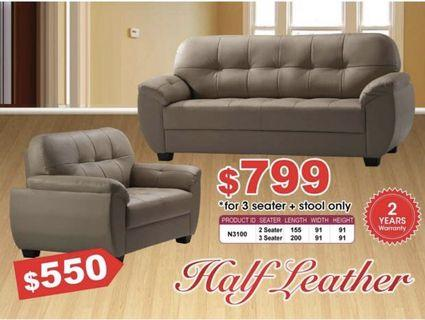 Special offer Half leather 2 seater sofa