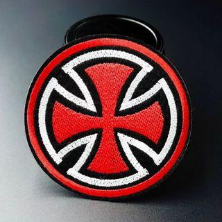 #825 red black white circular Iron On Patch | po