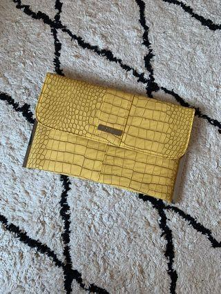 Yellow vegan croc clutch