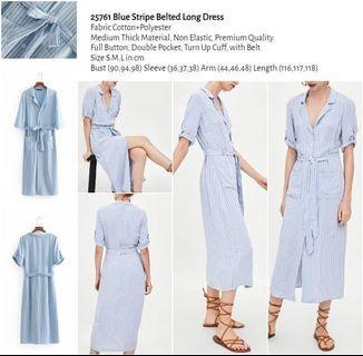 WST 25761 Blue Stripe Belted Long Dress