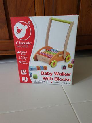 Baby Wooden Walker With Blocks