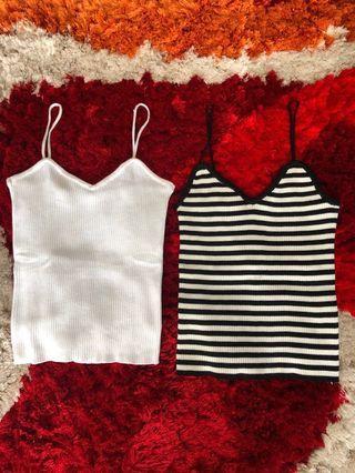 Top white and stripe